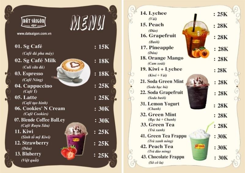 Đặt giá từ thấp đến cao trong menu